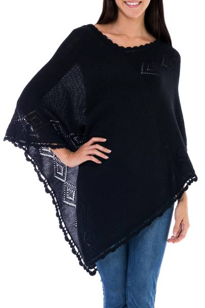 Black Alpaca Blend Poncho from Peru