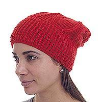 100% alpaca hat, 'Scarlet Style' - Hand Knit Red Alpaca Woman's Hat