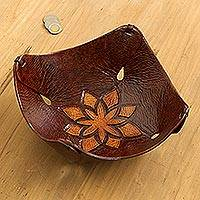 Leather catchall, 'Caramel Star Tattoo' - Fair Trade Floral Tooled Leather Catchall from Peru