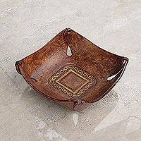 Leather catchall, 'Brown Lasso Window' - Artisan Crafted Leather Square Catchall from the Andes