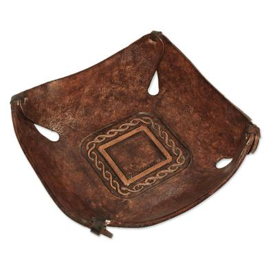 Artisan Crafted Leather Square Catchall from the Andes
