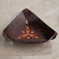 Leather catch-all, 'Caramel Pyramid Tattoo' - Artisan Crafted Dark Brown Leather Catchall from Peru