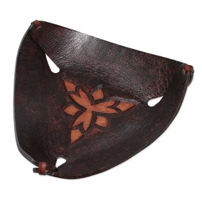Artisan Crafted Dark Brown Leather Catchall from Peru