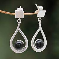 Obsidian dangle earrings, 'All Independent' - Modern Jewelry Earrings in Sterling Silver and Obsidian