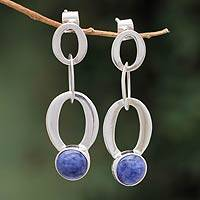 Sodalite dangle earrings, 'Chains of Peace' - Sterling Silver with Sodalite Earrings Peru Modern Jewelry