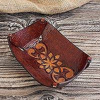 Leather centerpiece, 'Honey Bloom Tattoo' - Leather Centerpiece in Honey Brown Artisan Crafted in Peru