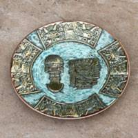 Bronze and copper decorative plate, 'Pre-Inca Legends' - Peruvian Inca Inspired Decorative Plate in Bronze and Copper