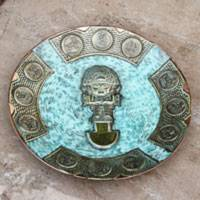 Bronze and copper decorative plate, 'Northern Warrior' - Andean Warrior Decorative Copper Plate with Bronze