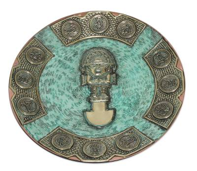 Andean Warrior Decorative Copper Plate with Bronze