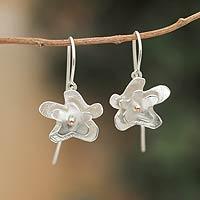 Sterling silver dangle earrings, 'Sweet Jasmine' - Copper Accent Sterling Silver Flower Earrings