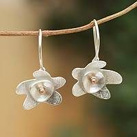 Sterling silver dangle earrings, 'Sweet Blossom' - Sterling Silver Flower Earrings with Copper Accents