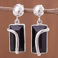 Obsidian dangle earrings, 'Sensuous Diva' - Obsidian Earrings Artisan Crafted Sterling Silver Jewelry