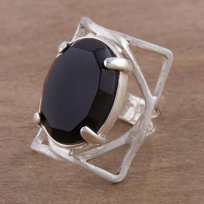 Obsidian Ring Artisan Crafted Sterling Silver Jewelry