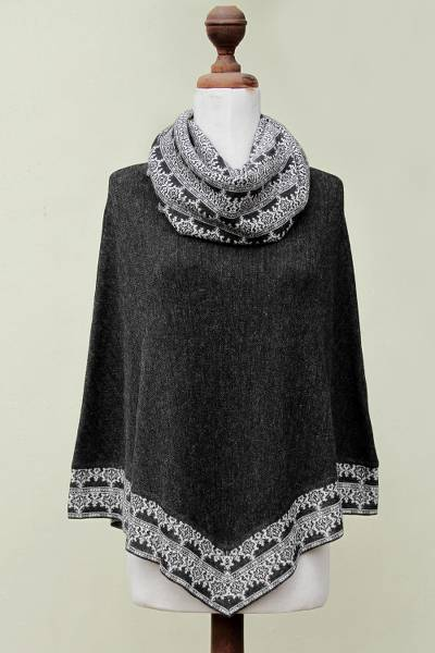 100% alpaca poncho, 'Huarascaran Mist' - Gray and Ivory Cowl Collar Poncho from Peru
