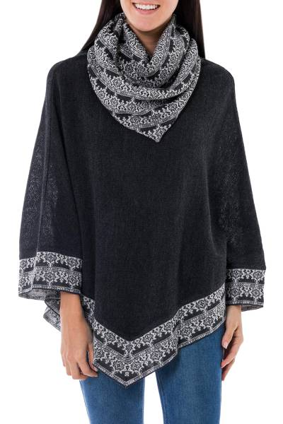 Gray and Ivory Cowl Collar Poncho from Peru
