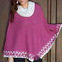 100% alpaca poncho, 'Huanta Pink Roses' - Cowl Neck Alpaca Poncho with Crochet Flowers