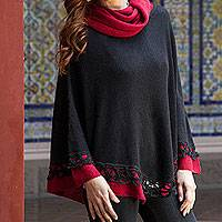 100% alpaca poncho, 'Huanta Black Roses' - Genuine Alpaca Poncho in Black and Red from Peru