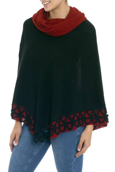 Genuine Alpaca Poncho in Black and Red from Peru