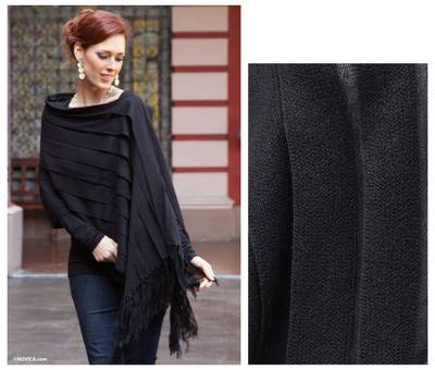 100% alpaca poncho, 'Illusions of Black' - 2-in-1 Black Poncho and Shawl in 100% Alpaca from Peru