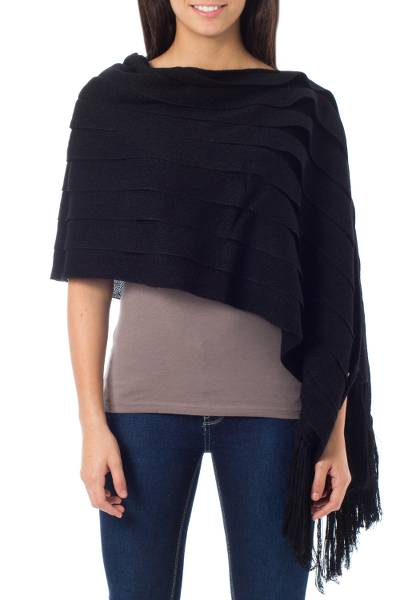 2-in-1 Black Poncho and Shawl in 100% Alpaca from Peru