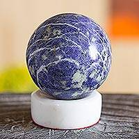 Sodalite sphere, 'Planet Earth' - Sodalite Sphere on White Onyx Stand Natural Gemstones