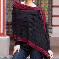 100% alpaca poncho, 'Cuzco Muse with Red' - Black with Red 2-in-1 Poncho and Shawl in Genuine Alpaca