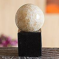 Caramel calcite sphere, 'Cleanse and Protect' - Natural Gemstone Calcite Sphere on Onyx Stand
