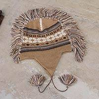 100% alpaca chullo hat, 'Cochas Adventure' - Beige Peruvian Chullo Cap with Earflaps and Fringe