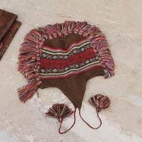 100% alpaca chullo hat, 'Quinua Adventure' - Brown Peruvian Chullo Cap with Earflaps and Fringe