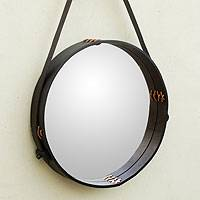 Leather wall mirror, 'Dark New Moon' - Contemporary Rustic Black Leather Wall Mirror