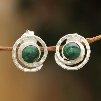 Chrysocolla button earrings, 'Cuzco Aura' - Handmade Sterling Silver Chrysocolla Earrings