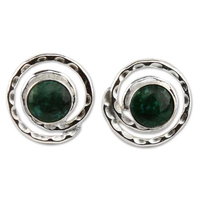 Handmade Sterling Silver Chrysocolla Earrings