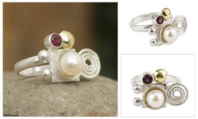 Gold accent cultured pearl and garnet cocktail ring, 'Andean Rune' - Gold Accent Sterling Silver Pearl and Garnet Ring