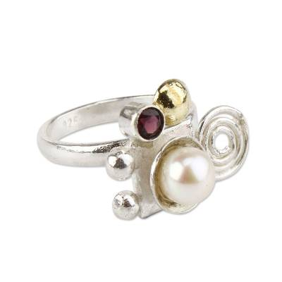 Gold Accent Sterling Silver Pearl and Garnet Ring