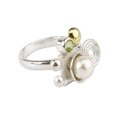 Fair Trade Peridot and Pearl Ring with 18k Gold