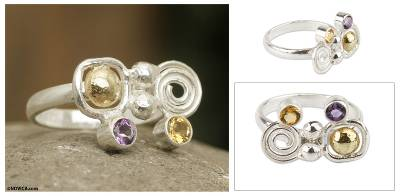 sterling silver pearl necklace - Amethyst and Citrine Silverl Ring with 18k Gold from Peru