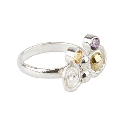 Amethyst and Citrine Silverl Ring with 18k Gold from Peru