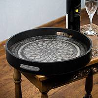 Wood and leather serving tray, 'Andean Lotus' - Tooled Leather Serving Tray