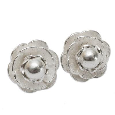 Sterling Rose Handmade Button Earrings