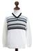 Men's 100% alpaca sweater, 'Tireless Wanderer' - Men's White Alpaca Pullover Sweater from Peru (image 2c) thumbail