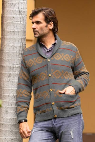 Men's 100% alpaca cardigan, 'Chakana Traveler' - Gray Men's Alpaca Cardigan from Peru