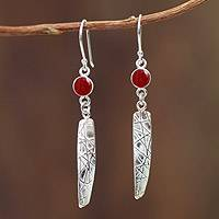 Carnelian dangle earrings, 'Sunset Path' - Artisan Crafted Peruvian Silver Earrings with Carnelian