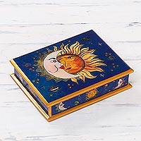 Reverse painted glass box, 'Sun Moon Attraction' - Eclipse Motif Reverse Painted Glass Box Peru