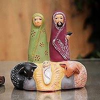 Ceramic nativity sculpture, 'Sacred Family' - Artisan Crafted Ceramic Nativity Scene Sculpture
