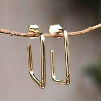 Gold plated half-hoop earrings, 'Minimalist' - 18k Gold on Squared Half Hoop Earrings