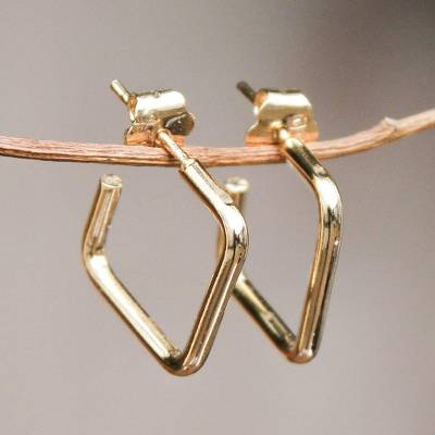 Gold plated half-hoop earrings, 'Minimalist Chic' - 18k Gold Plated Half Hoop Earrings