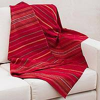 Alpaca blend throw, 'Huanca Princess' - Handwoven Red and Orange Alpaca Blend Throw