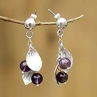 Amethyst dangle earrings, 'Jungle Rain' - Handmade Silver Leaf Earrings with Amethyst