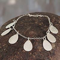 Sterling silver charm bracelet, 'Leaf Motifs' (Peru)