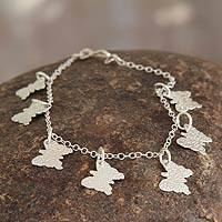 Sterling silver charm bracelet, 'Andean Butterfly' (Peru)